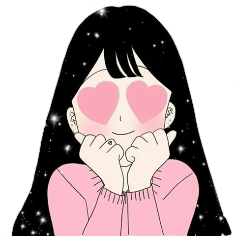 Stickers transparent anime. Aesthetic cute girl pink