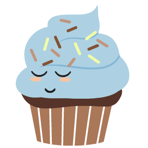 Stickers transparent cupcake. By cartoon smart messages