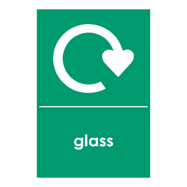 Stickers transparent glass. Recycling sticker safety label