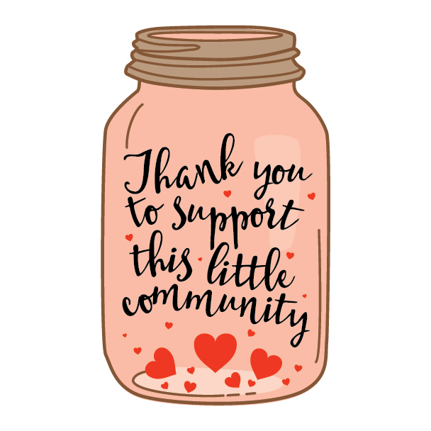 Stickers transparent jar. Thank you to support