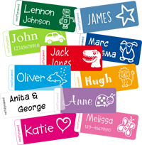 Stickers transparent name. Small labels personalised kid
