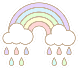 Stickers transparent pastel. Cute rainbow and cloud