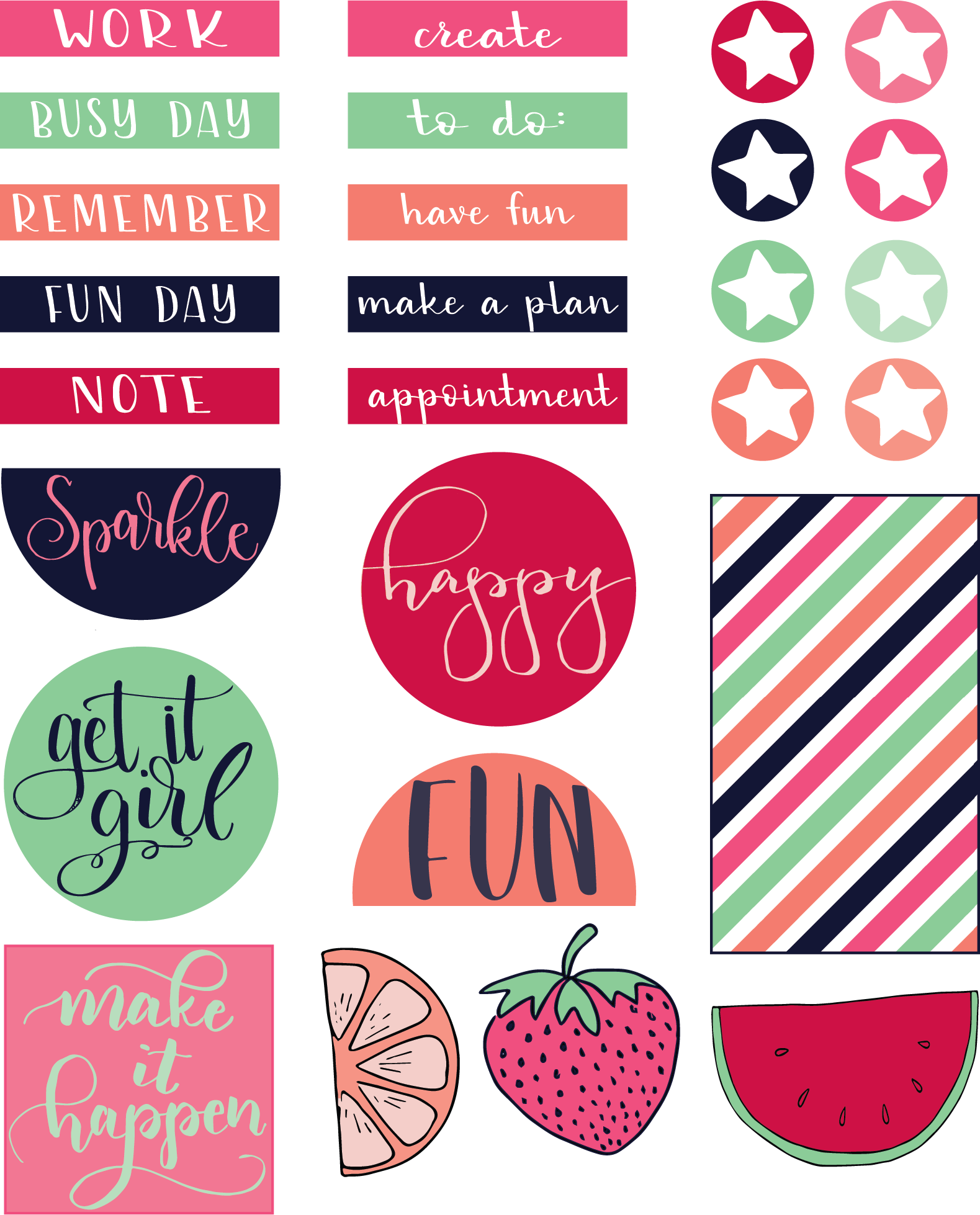 Stickers transparent printable. Free planner liz on