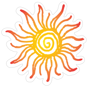 Stickers transparent sun. Groovy sticker