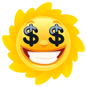 Stickers transparent sun. By cartoon smart messages