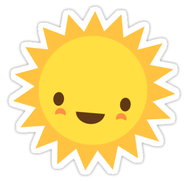 Stickers transparent sun. Cute kawaii cartoon character