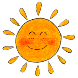 Stickers transparent sun. Doodle for facebook timeline