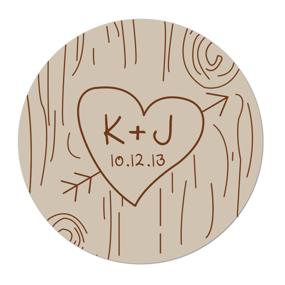 Stickers transparent wedding. Wood carving personalized sticker