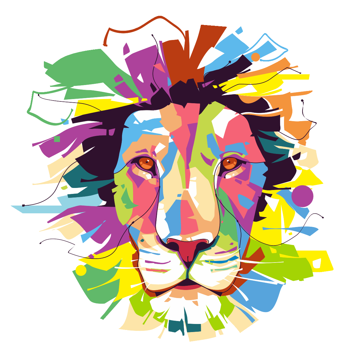 Dallas drawing pop art. Sticker lion majestueux rangement