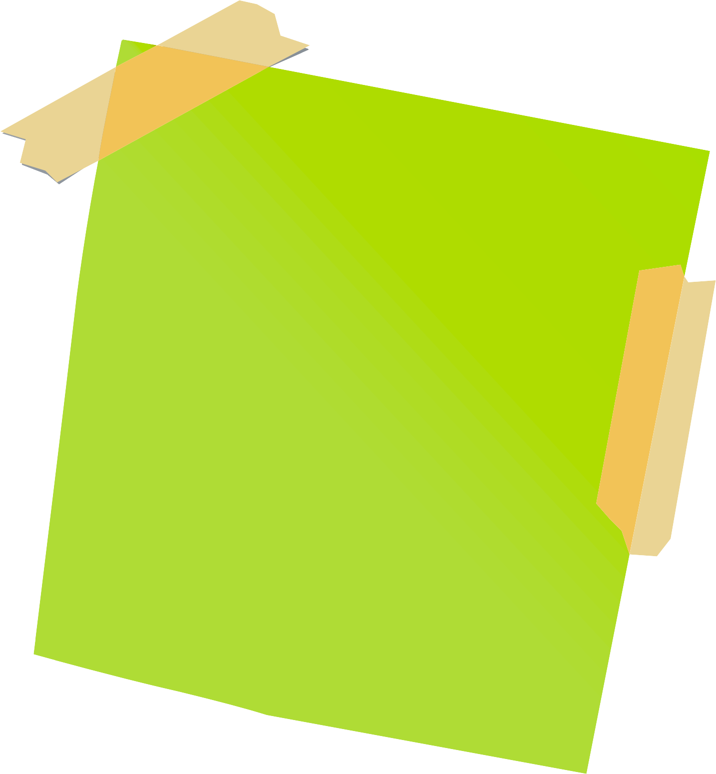 Sticky note png transparent background. Green with tape stickpng