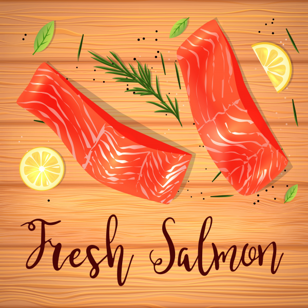 Still life top view flat lay with red fish with lemon and rosemary. Vector illustration on