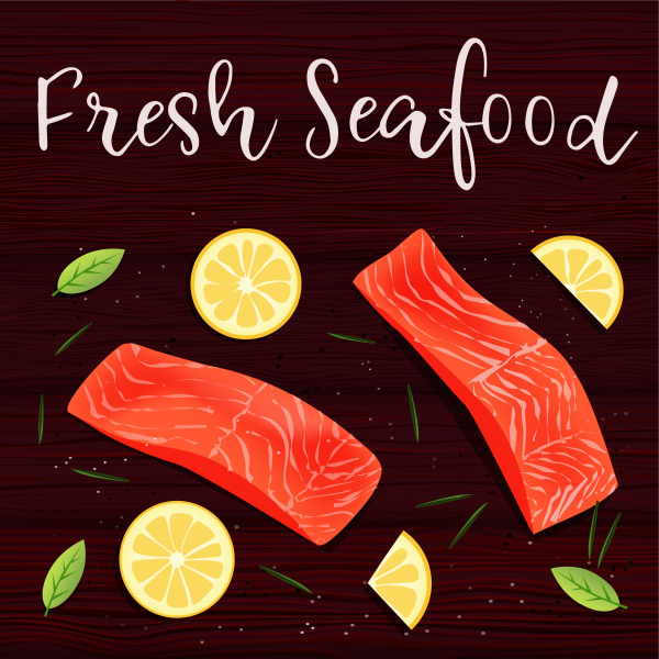 Still life top view flat lay with red fish. Lemon rosemary vector
