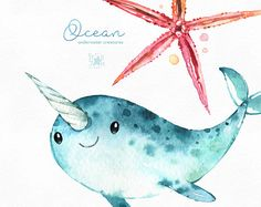 Stingray clipart blue shark. Ocean underwater creatures watercolor