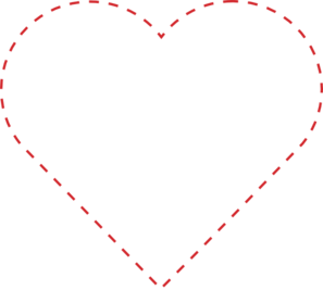 Stitches vector stitching. Stitched heart outline clip