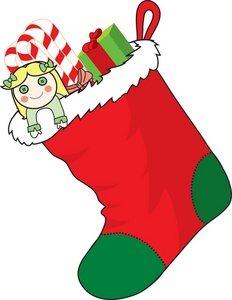 Stocking clipart. Free image christmas filled
