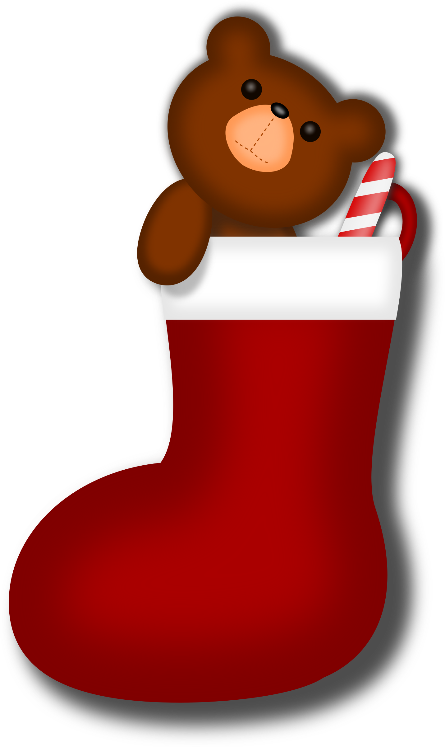 Stocking vector white. Clipart teddy bear big