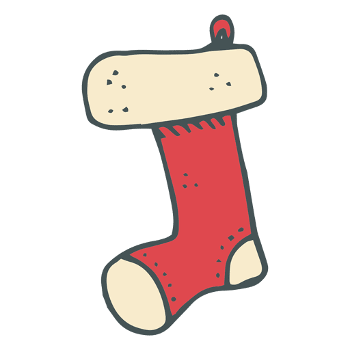 Stocking vector cartoon. Christmas hand drawn icon