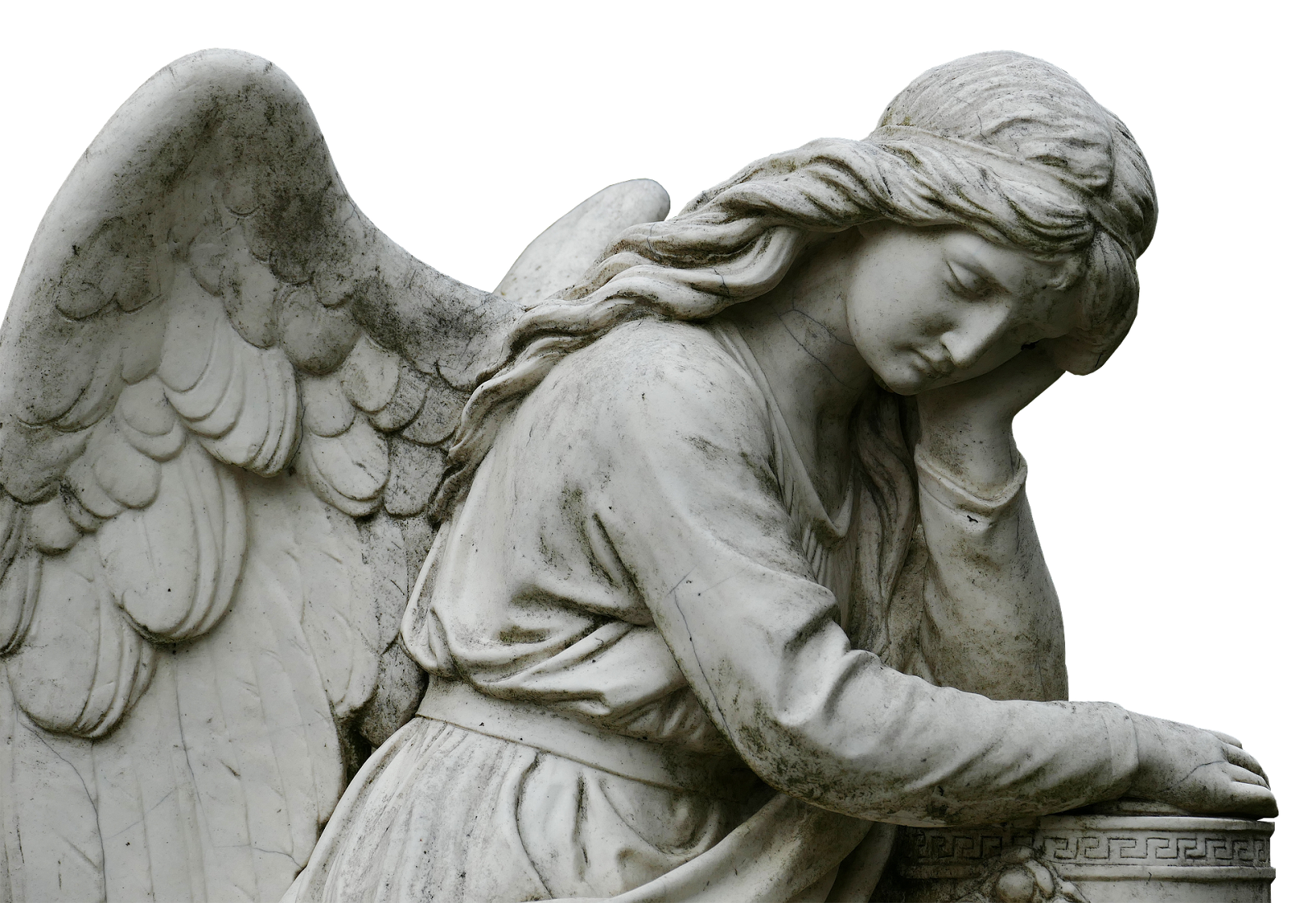 Mourning angel sculpture statue. Stone angels png image black and white stock