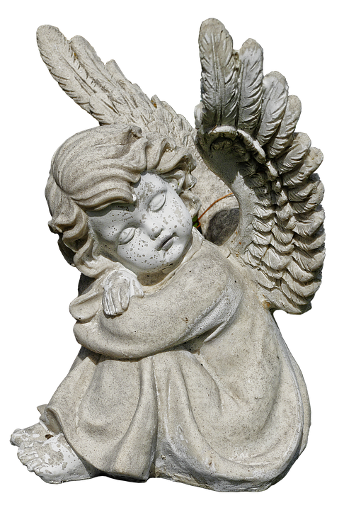 Free photo ceramic figure. Stone angels png graphic