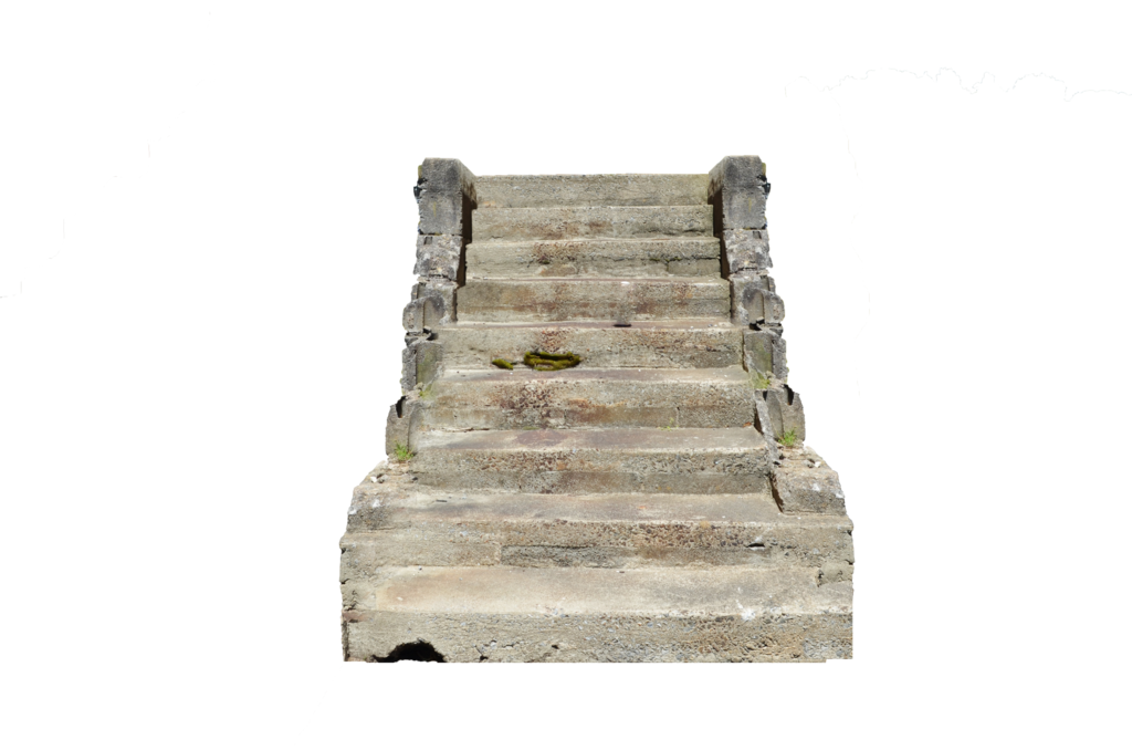 Stone stairs png. Old concrete steps symmetrical