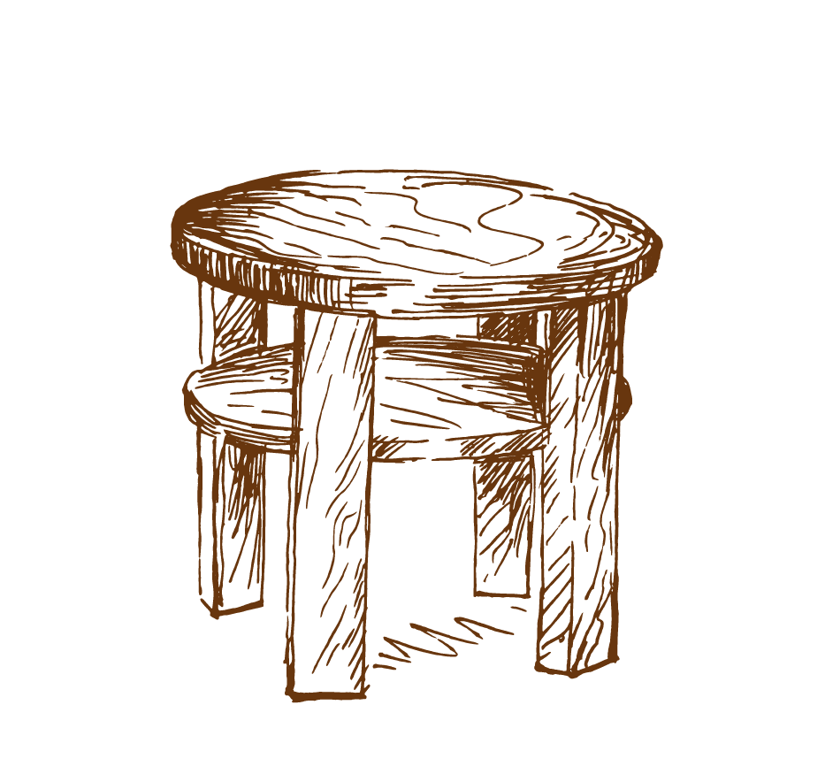 Stool drawing. Round table furniture hand