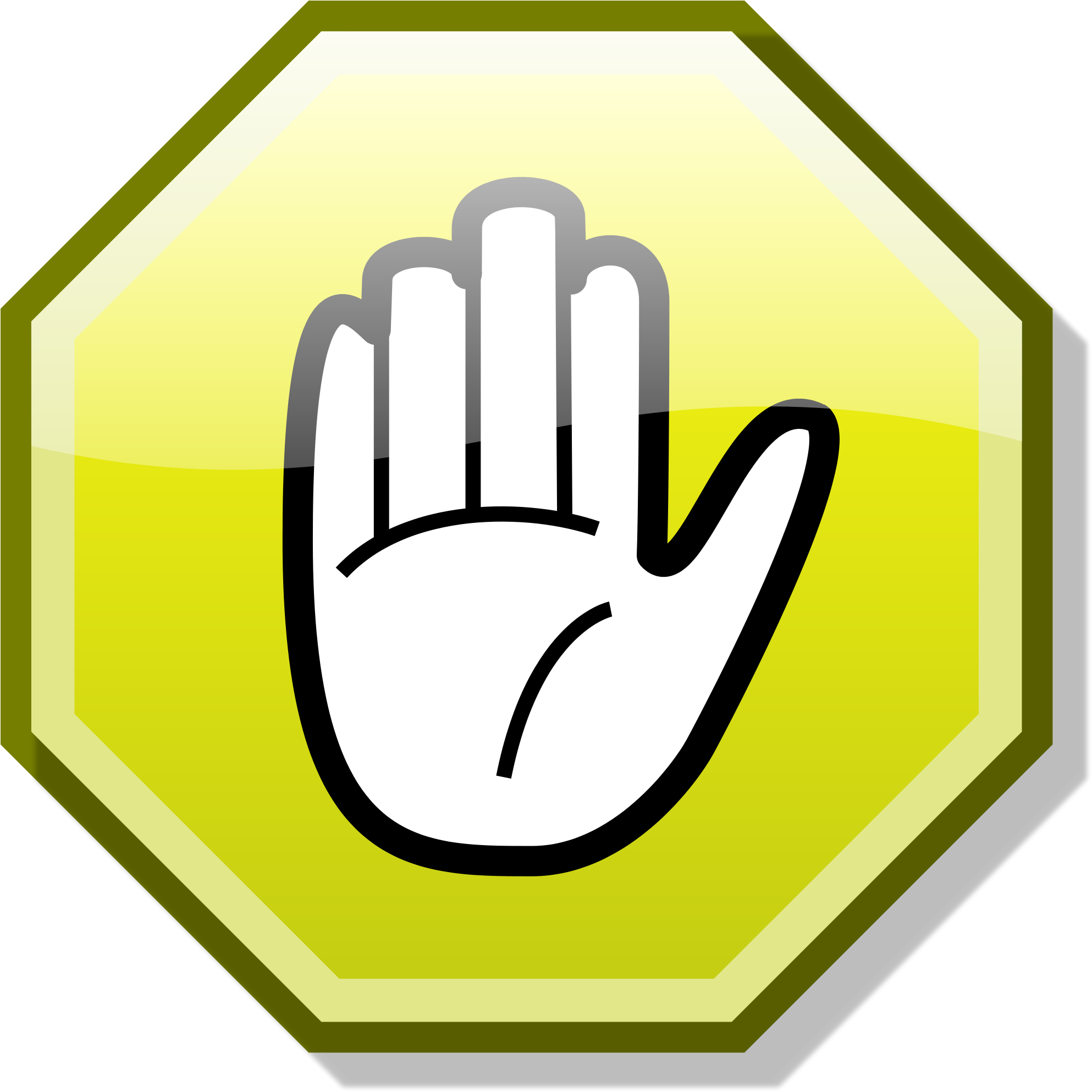 Stop hand png. Download open yellow image