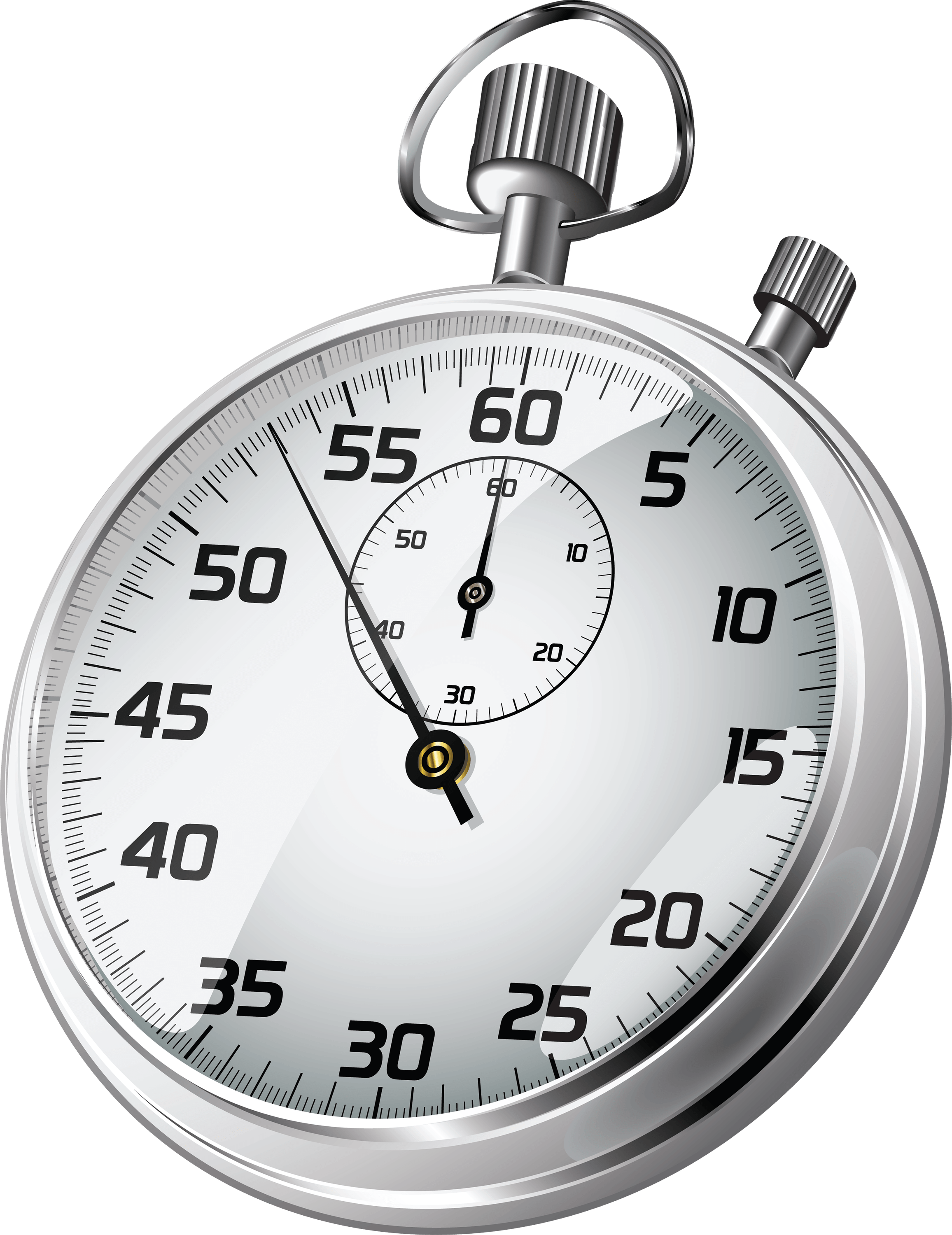 Transparent stopwatch. Sideview clock png stickpng