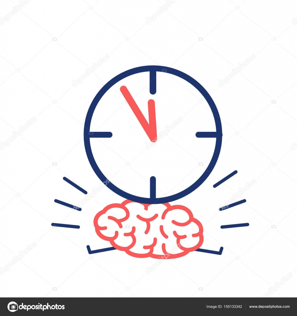 Stopwatch clipart time pressure. Brain in stock vector