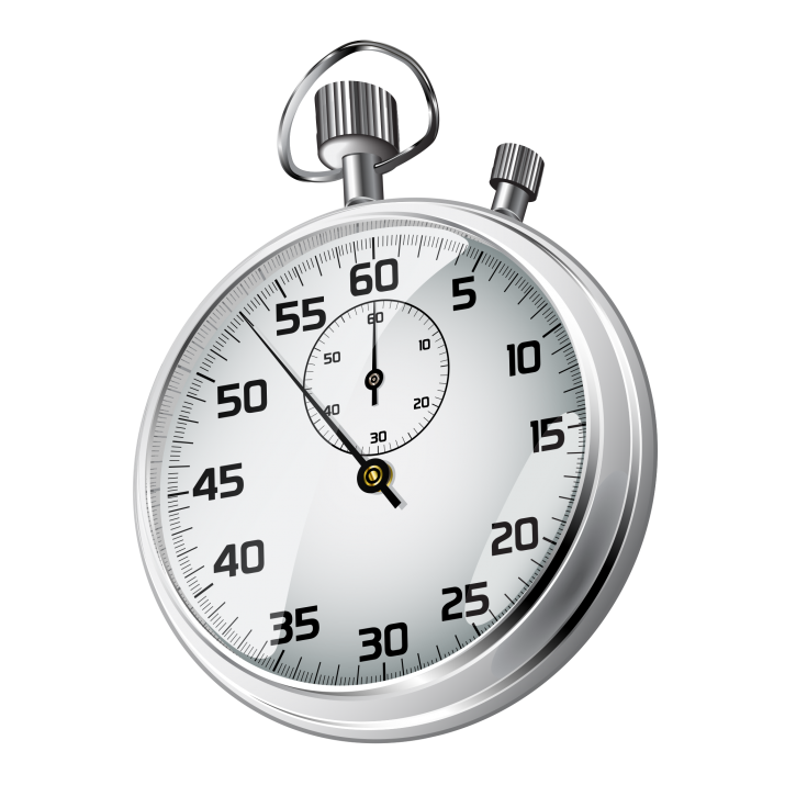 Stopwatch transparent white. Realistic timer on background