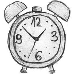 Transparent stopwatch clock drawing. Time history alarm hand