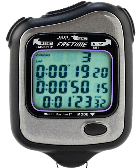 Transparent stopwatch racing. Fastime for horse lap