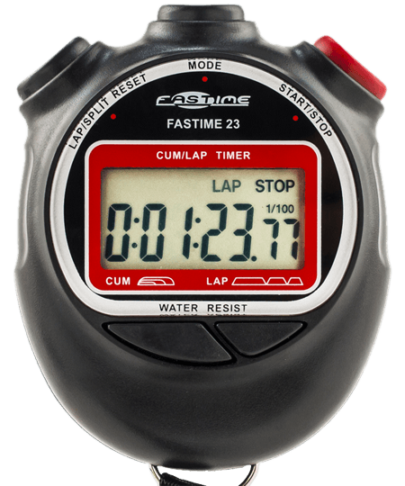 Transparent stopwatch red. Cycling stopwatches split time