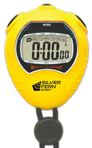 Stopwatch transparent sport. Silver fern large display