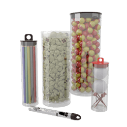 Storage clip plastic tube. Clear tubes with thick