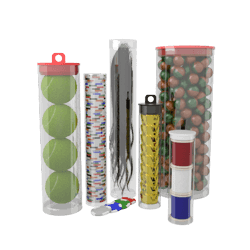 Transparent plastics packaging. Clear plastic tubes with