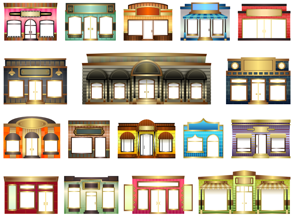 Storefront clipart. Window black and white