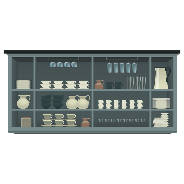 Vector furniture elements. Coffee shop collection interior