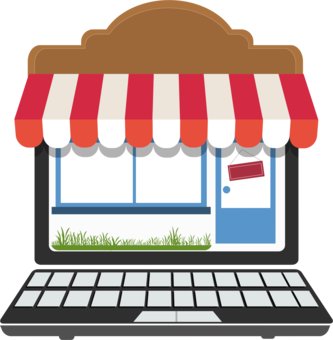 Storefront vector retail store. Department shopping computer icons