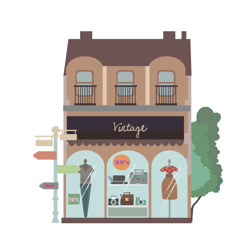 Homes vector vintage. Shopping street by k