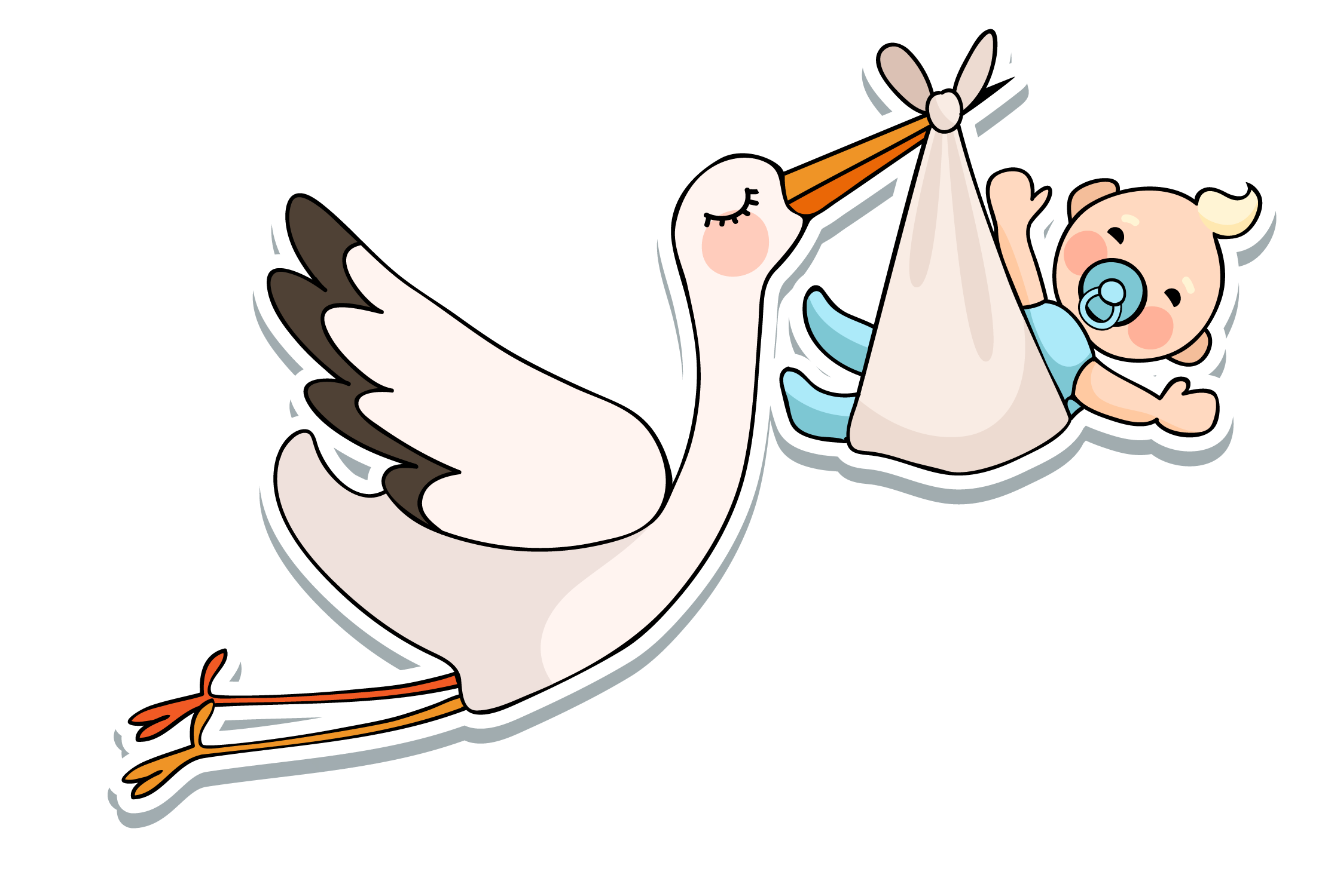 Shower vector animated. White stork infant baby