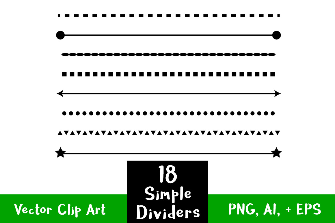 Straight clipart divider line. Simple shape dividers