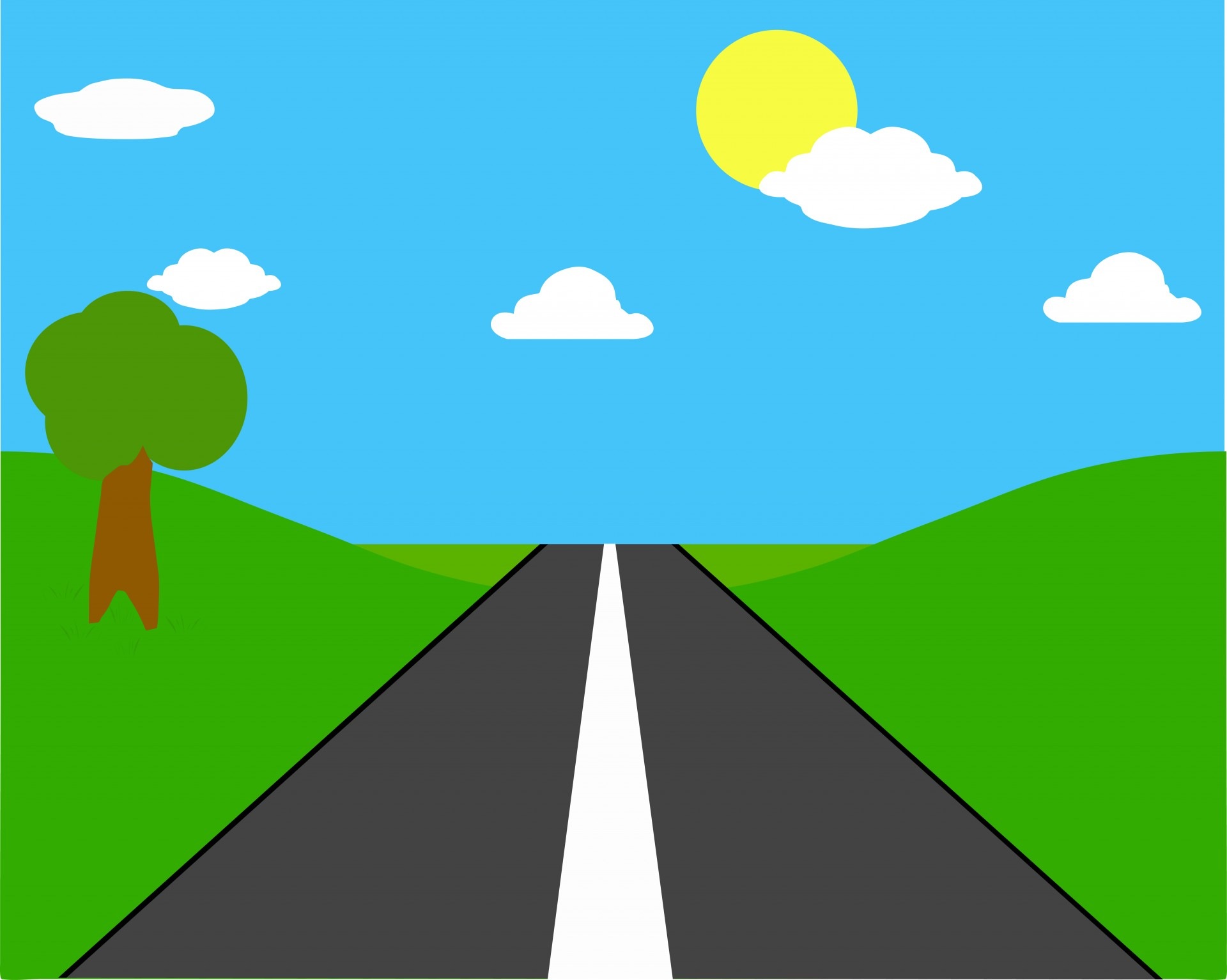 Straight clipart open road. Through countryside free stock