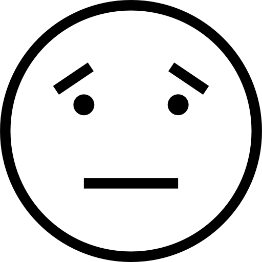 Straight face emoji png. Neutral outlined emoticon symbol