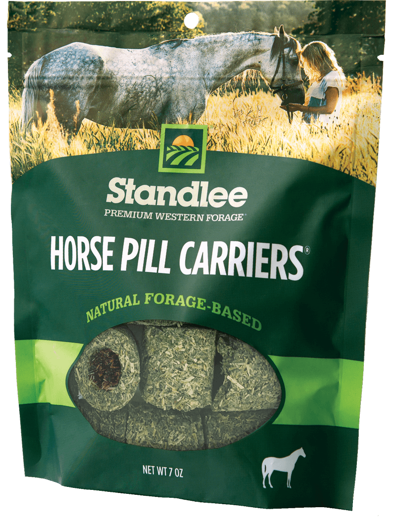Straw transparent horse food. Quality feed products standlee