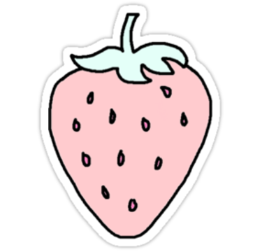 Strawberries clipart pastel. Strawberry stickers by woeally
