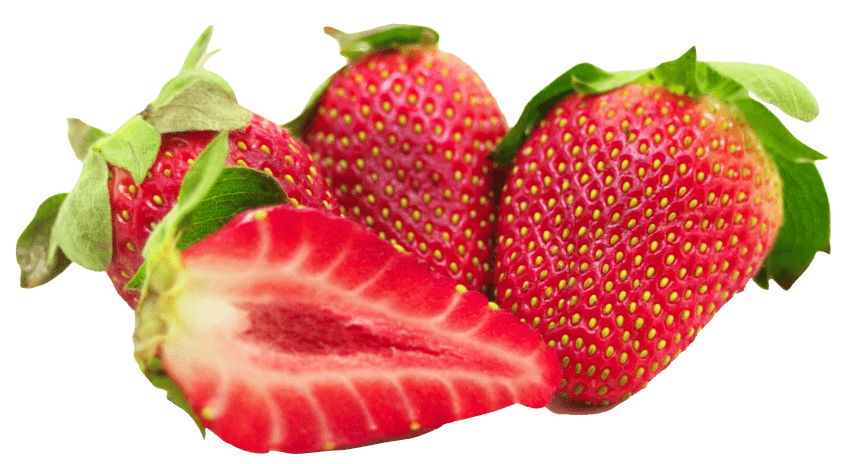 Strawberries png. With leaf and sliced