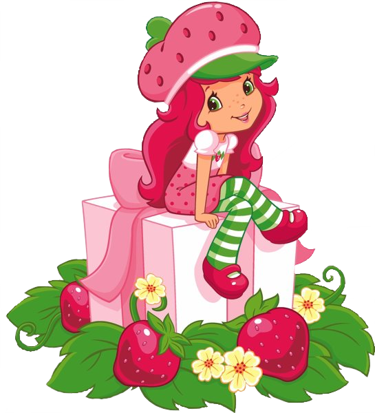 Strawberry shortcake png. On a box by