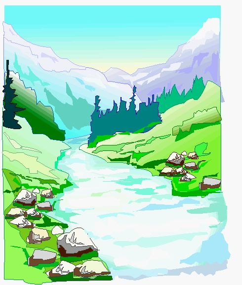 Stream clipart wide river. Collection of rivers landscape