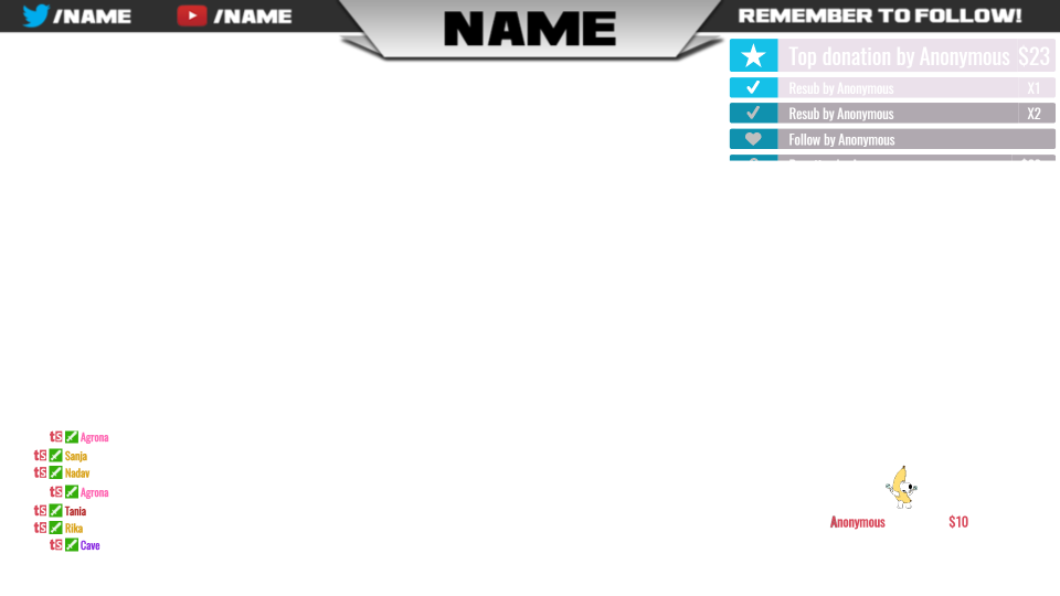Stream overlay png. Tipeeestream layouts for your