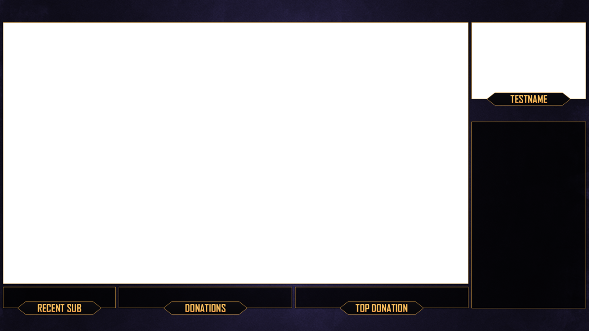 Stream overlay template png. Twitch purple gold download